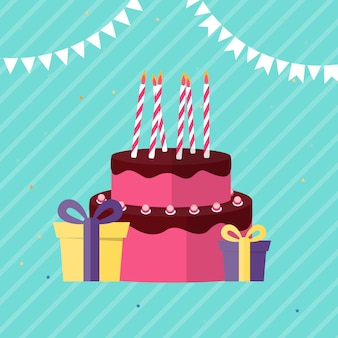Abstract happy birthday background card template with cake vector illustration