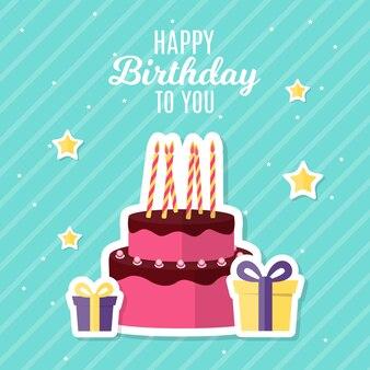 ケーキベクトルイラストと抽象的なお誕生日おめでとう背景カードテンプレート