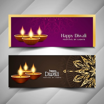 Abstract happy diwali festival banners set