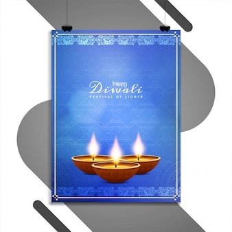 Abstract happy diwali flyer template design