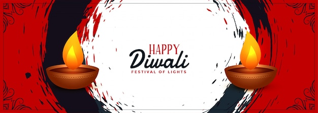 Abstract happy diwali indian festival banner