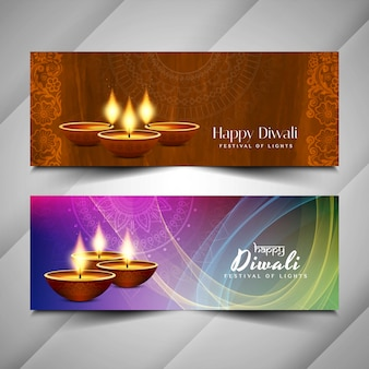 Abstract happy diwali religious banners design
