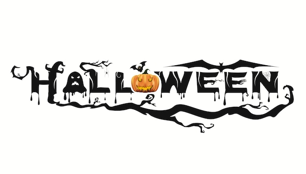 Abstract happy halloween party text banner, template text for halloween party. vector illustration
