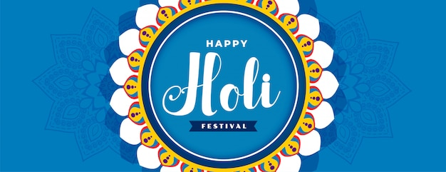 Abstract happy holi blue festival banner