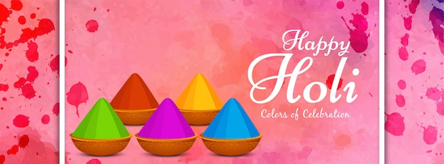 Abstract happy holi colorful banner design