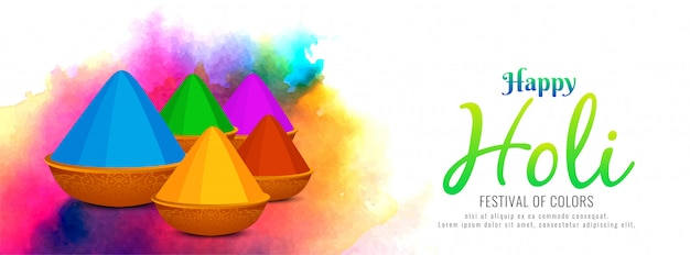 Abstract happy holi colorful banner template