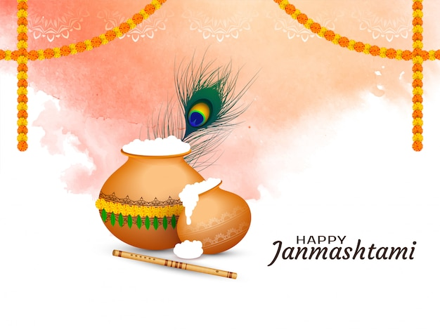 Abstract happy janmashtami festival greeting background