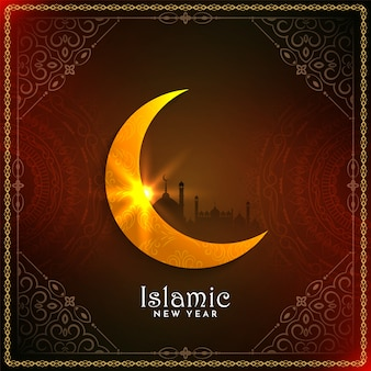 Abstract happy muharram background with glossy moon