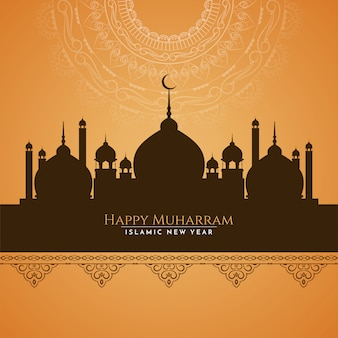 Abstract happy muharram greeting card with mosque design
