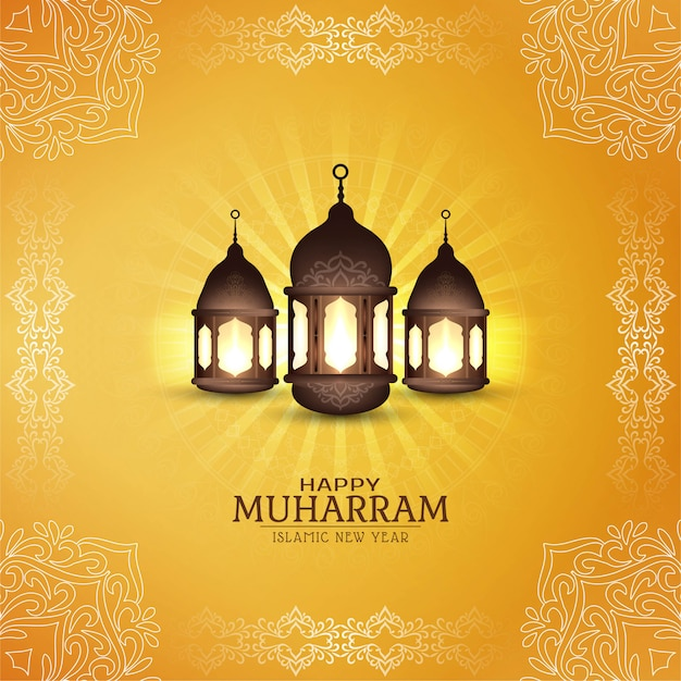 Abstract happy muharram religious card