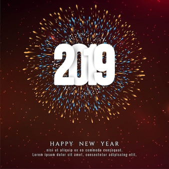 Abstract happy new year 2019 celebration firework background