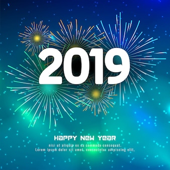 Abstract happy new year 2019 colorful firework background