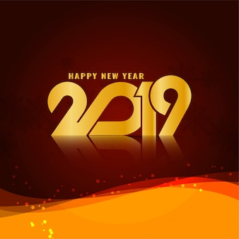 Abstract Happy New Year 2019 stylish wavy background