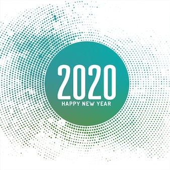 Abstract happy new year 2020 halftone card
