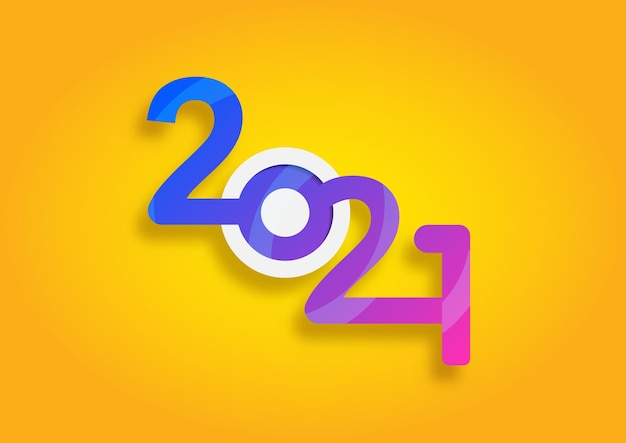 Abstract happy new year 2021 logo text design. cover of business. brochure design template, card, banner. vector illustration.