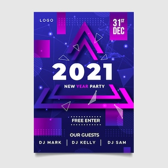 Manifesto astratto di felice anno nuovo 2021 con triangoli