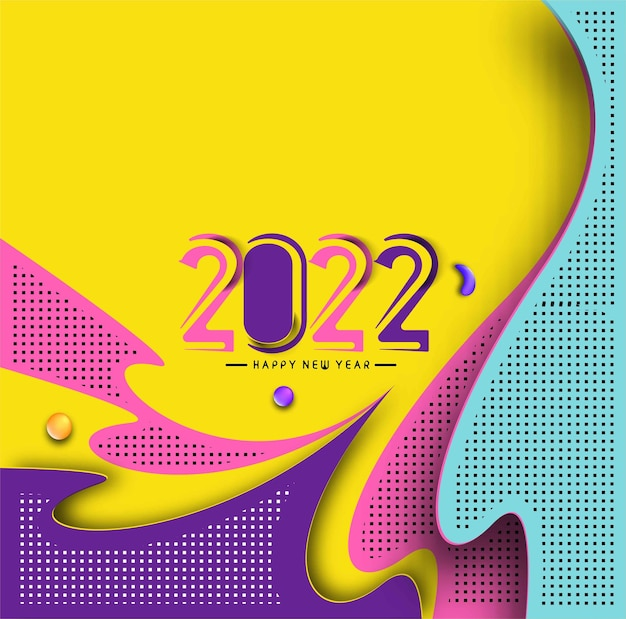 抽象明けましておめでとうございます2022テキストカラフルなテンプレートグリーティングカードバナー、ベクトルイラスト。