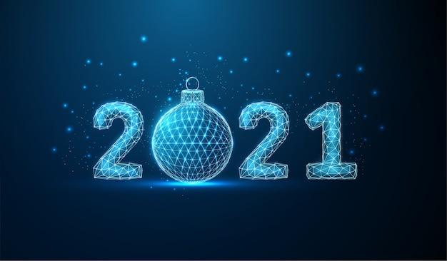 クリスマスボールと抽象的な新年あけましておめでとうございますグリーティングカード
