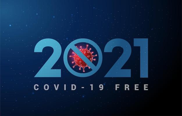 코로나 바이러스와 추상 새 해 복 많이 인사말 카드입니다.