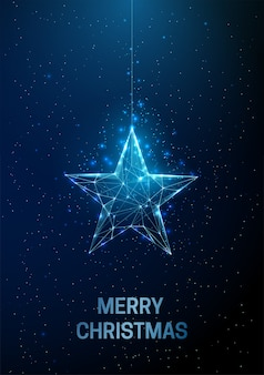 Abstract happy new year greeting card with hanging christmas star. low poly style design abstract geometric background wireframe light structure modern 3d graphic concept. isolated