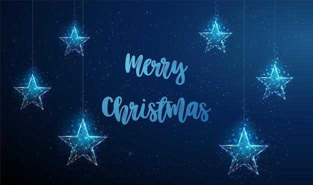 ぶら下がっているクリスマスの星と抽象的な新年あけましておめでとうございますグリーティングカード低ポリスタイルのデザイン抽象的な幾何学的な背景ワイヤーフレームライト構造モダンな3dグラフィックコンセプト。孤立