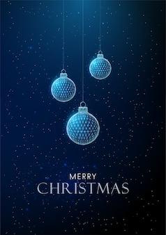 クリスマスのおもちゃをぶら下げて抽象的な新年あけましておめでとうございますグリーティングカード。低ポリスタイルのデザイン抽象的な幾何学的な背景ワイヤーフレームライト構造モダンな3dグラフィックコンセプト。孤立