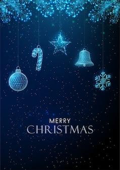 クリスマスのおもちゃをぶら下げて抽象的な新年あけましておめでとうございますグリーティングカード