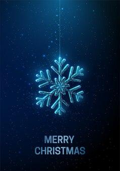 雪の結晶がぶら下がっている抽象的な新年あけましておめでとうございますグリーティングカード