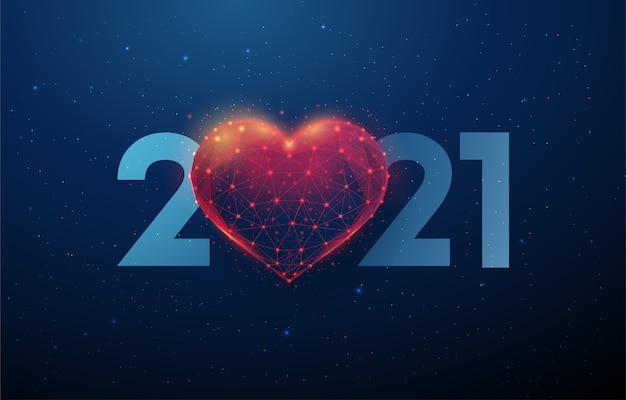 ハート型の抽象的な新年あけましておめでとうございますグリーティングカード