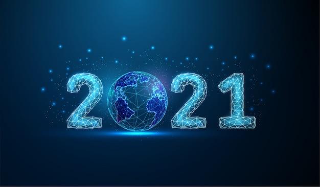惑星との抽象的な新年あけましておめでとうございます。低ポリスタイル