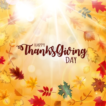 Abstract happy thanksgiving day background with falling autumn leaves