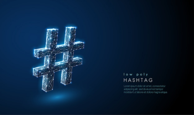 Abstract hash tag symbol. low poly style