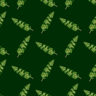 緑の熱帯バナナの葉飾りと抽象的なハワイの葉のシームレスなパターン。