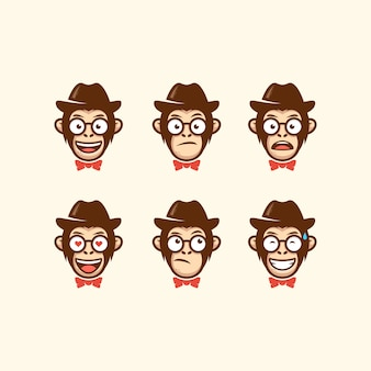 Abstract head cowboy illustration vector template