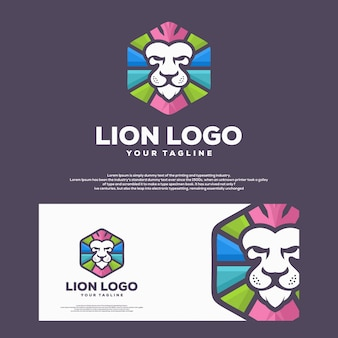 Abstract head lion concept illustration