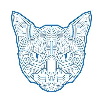 마이크로 전자 회로와 점으로 구성된 고양이의 추상 머리. 벡터 일러스트 레이 션 흰색 배경에 고립입니다. 광고, 그래픽 또는 웹 디자인 및 창의적인 프로젝트에 사용하기에 적합