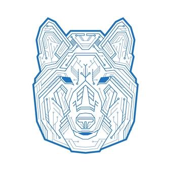 초소형 전자 회로와 점으로 구성된 개, 늑대 또는 코요테의 추상 머리. 벡터 일러스트 레이 션 흰색 배경에 고립입니다. 광고 디자인 및 창의적인 프로젝트에 사용하기에 적합