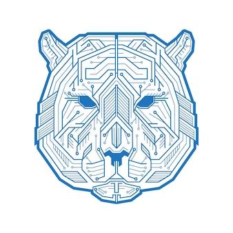 마이크로 전자 회로와 점으로 구성된 호랑이 또는 곰의 추상 머리. 벡터 일러스트 레이 션 흰색 배경에 고립입니다. 광고 또는 웹 디자인 및 창의적인 프로젝트에 사용하기에 적합