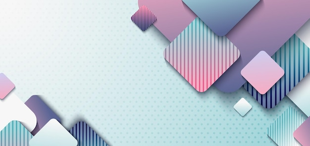 Abstract header design template 3d rounded square overlap with shadow on light blue polka dot background.