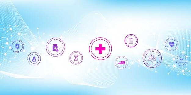 평면 아이콘으로 추상 의료 배너 템플릿입니다. 의료 의학 개념입니다. 의료 혁신 기술 약국 배너입니다. 벡터 일러스트 레이 션