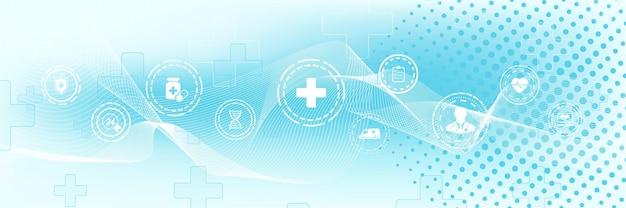 フラットアイコンで抽象的なヘルスケアバナーテンプレート。ヘルスケア医学の概念。医療イノベーション技術薬局のバナー。ベクトルイラスト