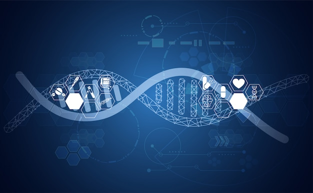 Abstract health dna medical science healthcare background digital technology