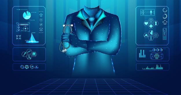 抽象的な健康医学は医者のデジタルワイヤーフレームで構成されています
