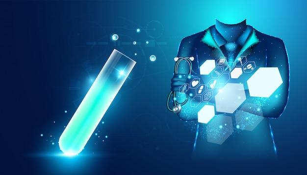 抽象的な健康医学博士デジタルワイヤフレームとガラス管