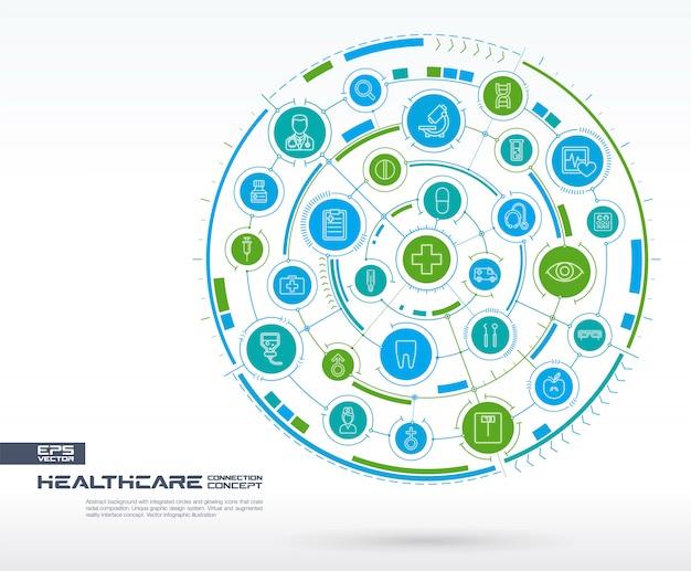 抽象的なヘルスケア、医学の背景。デジタル接続システム、統合された円、光る細い線のアイコン。ネットワークシステムグループ、インターフェイスの概念。将来のインフォグラフィックイラスト