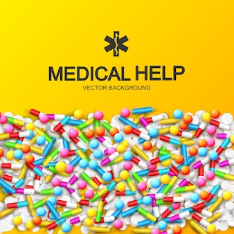 Abstract healthy medical with colorful capsules remedies pills and drugs illustration