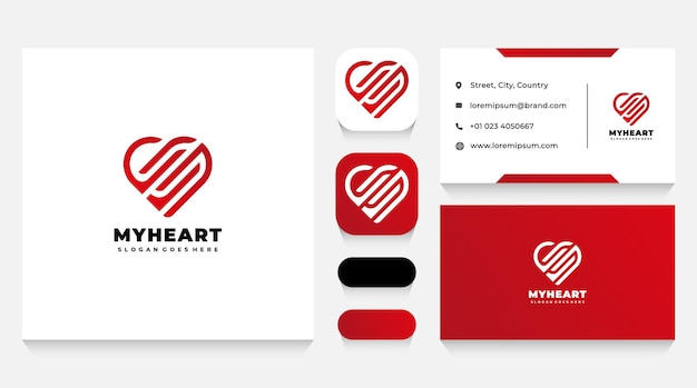 Abstract heart logo template and business card