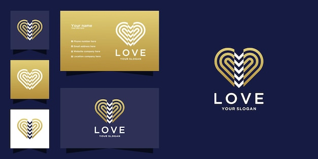 Abstract heart love logo and business card