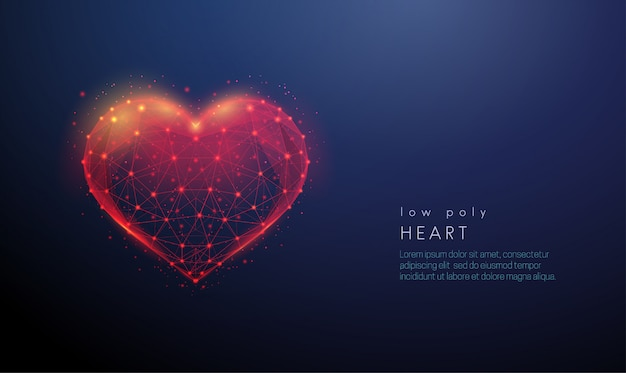 Abstract heart shape. low poly style design
