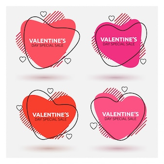 Abstract heart shaped sale banner design set